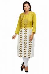Linen Satin Embroidered Ombre Dye Long Kurta