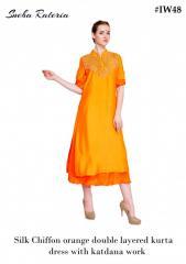 Silk chiffon orange double layered kurta dress with katdana work