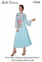 Artic blue sequenced georgette dress with resham floral work