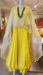 Yellow color Indo Western dress with tessels