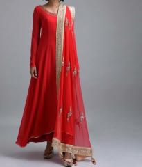 Red Color party wear dress