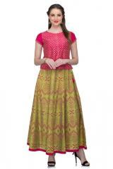 Lime Fuchsia Silk Block Print Skirt Top