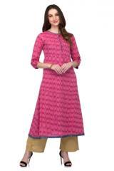Pink Cotton Straight KURTA