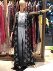 Black flower net hand embroidered jacket with Black & Grey ombre Dress