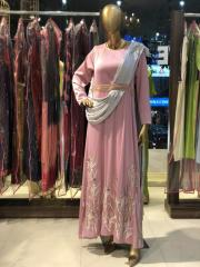 Onion Pink & Grey attached Dupatta Gown