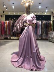 Onion Pink color Floor Length Gown