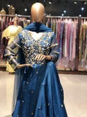 Antique Teal Blue Anarkali Dress