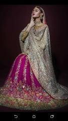 Majenta Pink embroidered Wedding wear