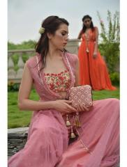 Coral color hand embroidery Dress with Net Jacket