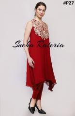 Crimson red knee length tunic with zari embroidery paired with lycra legging