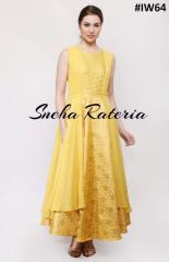 Tuscan sun full length brocade dress with georgette layered on top