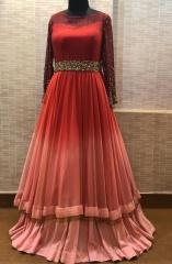 Geometrical work Maroon coral color dress