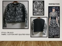 White embroidery with black color coat