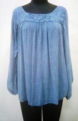 Rayon crepe Blue color Top