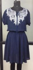 Navy blue rayon dress with tessles