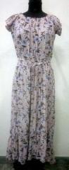 Peach color printed women maxi dress