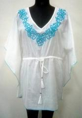 White and Pink color neck embroidered top