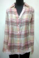 Multicolored check print women Shirt