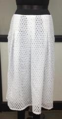 Net embroidered white long skirt