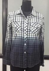 Black and white check pattern women shirt