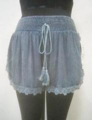 Denim Blue rayon crepe shorts