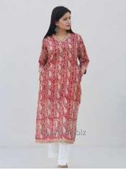 Red Paisley Handblock Print Cotton Kurta