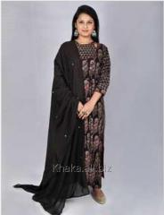 Ajrakh Black Anarkali Style Slit Kurta For...