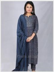 Ajrakh Blue Print Straight Fit Kurta With...
