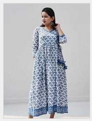 Ink Blue Handblock Print Cotton Mulmul...