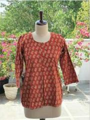 Red Floral Block Printed Kurti