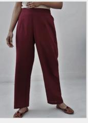 Wine Red Cotton Straight Pants