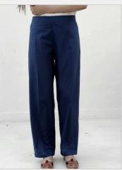 Ink Blue Cotton Straight Pants