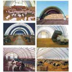 Agricultural purpose metal awning structures