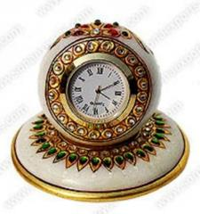 Round White Marble Wall Clock