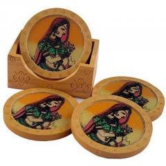 Gemstone Painting Wooden Tea Coasters Handicraft