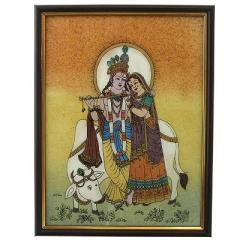 Divine Lovers Radha Krishna Gemstone Painting -138