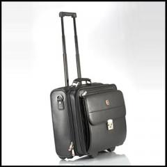 Leather Trolley Laptop Bag