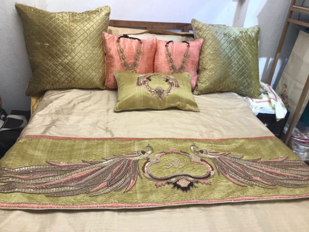 teal_wine_color_zardosi_work_cushions_and_runner