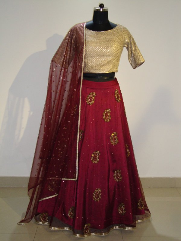 golden_and_mehroon_color_lehenga_top_with_dupatta