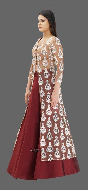mehroon_beige_color_lehenga_with_long_top_and