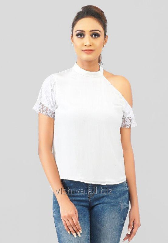 white_crepe_and_net_one_shoulder_top