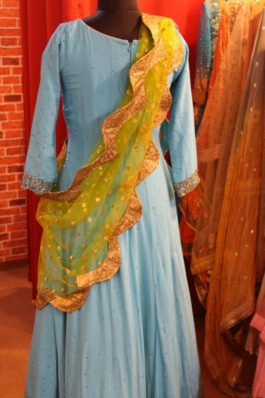 turquoise_color_floor_length_with_lime_green