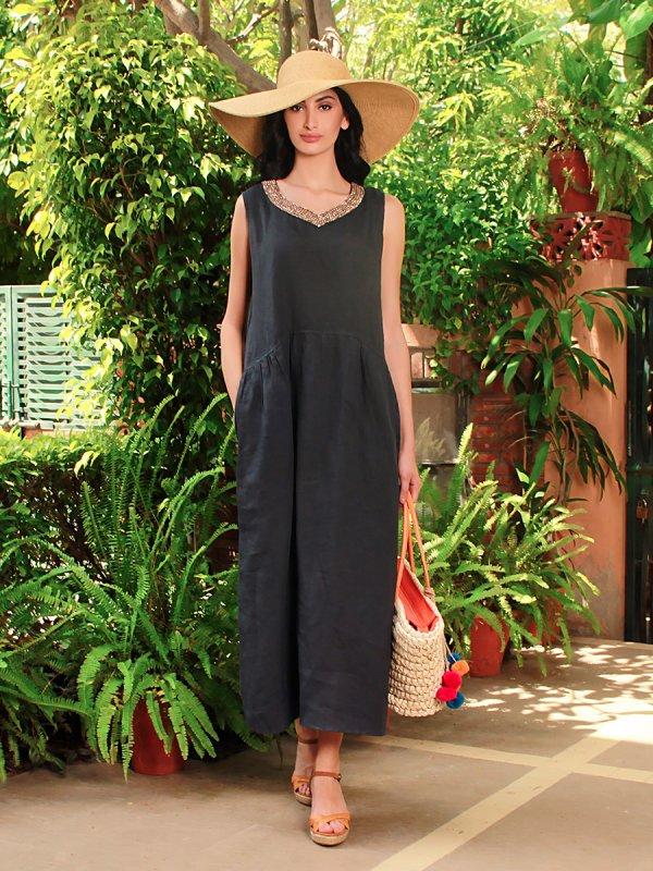 irene_navy_blue_pure_linen_midi_dress