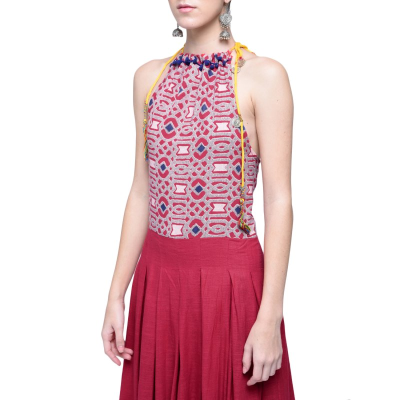kalidar_chocker_neck_dress