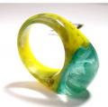 Yellow green blue resin ring