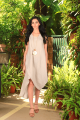 Cecelia Natural Beige Linen Classy Long Dress