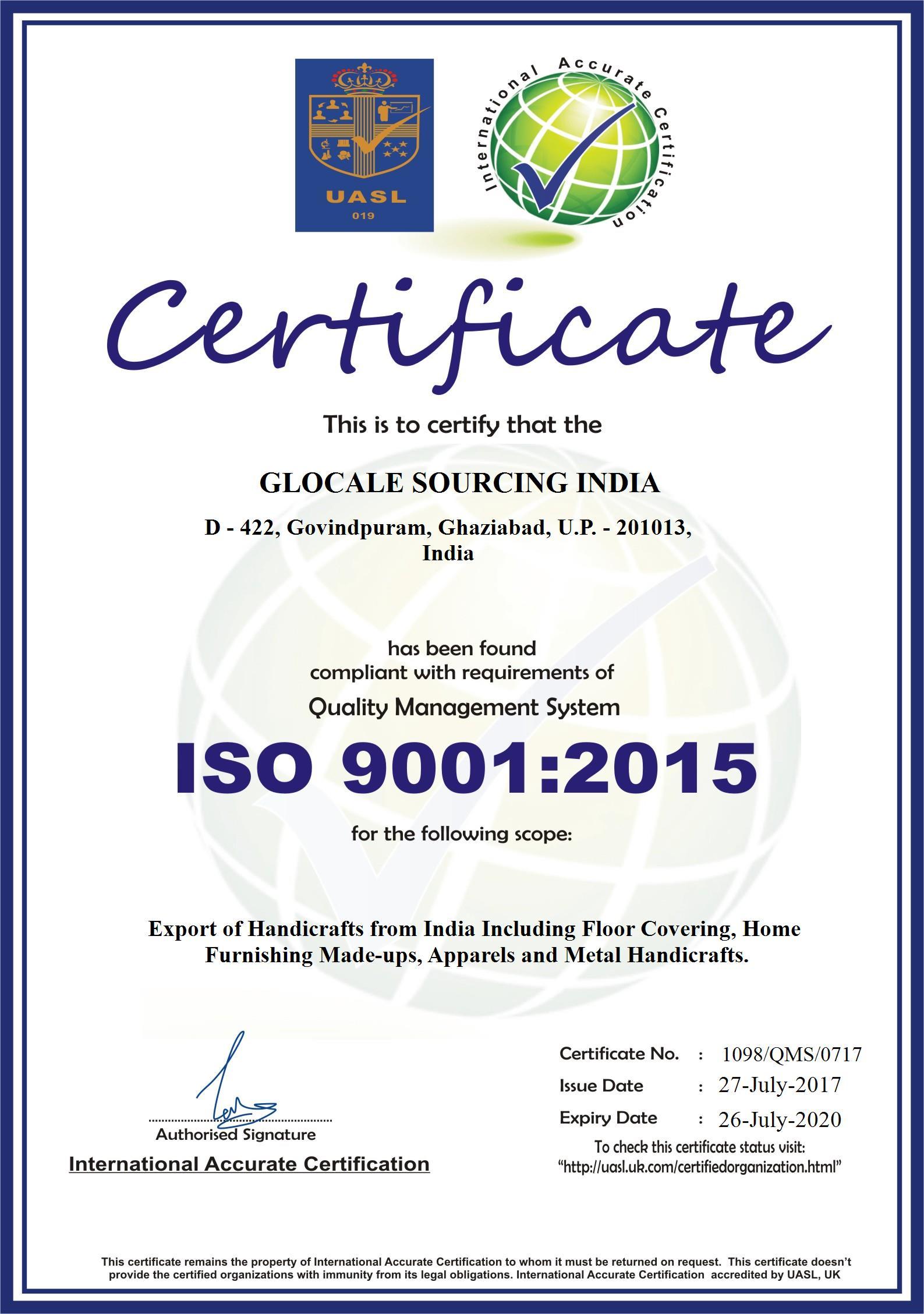 Certificates Gsi Handicrafts India Allz India