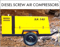 Diesel screw air compressors on hire