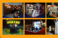 Custom made exhibition stands of wood, metal and fibre glass